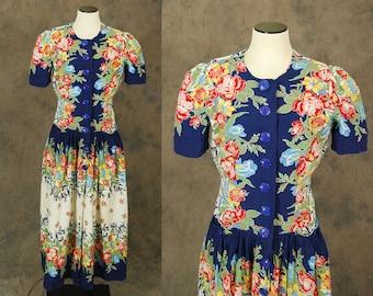 vintage 30s Maxi Dress - 1930s Floral Cotton Dressing Gown Hostess Dress Sz M L