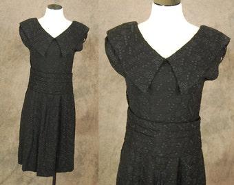 vintage 50s Party Dress - Black Embroidered Linen Dress 1950s Cummerbund Belt Cocktail Dress Sz M