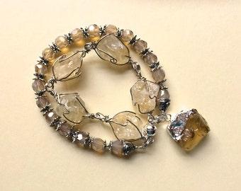 NOVEMBER BIRTHSTONE, CIRTINE Art Bracelet, wire wrapped, honey colored beads, rough cut citrine block pendant