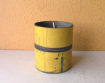 Metal Candle Holder, upcycled votive holder, unisex gift, industrial lighting, yellow metal storage made from salvaged street sign pipe