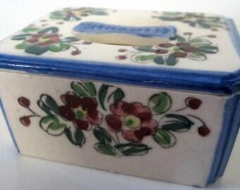 Porcelain Trinket Box Japan Handle Top Flower Hand Painted Dresser Jar