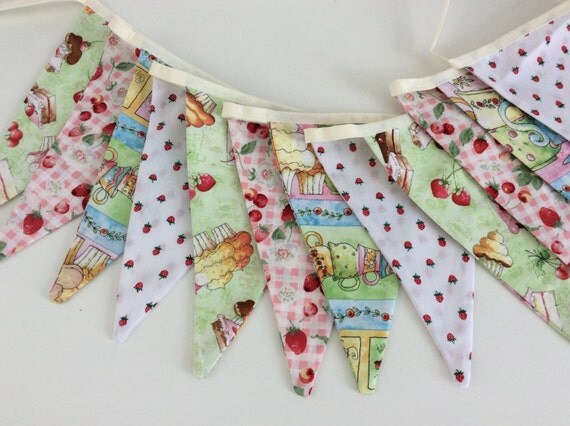 Bunting / Flag / Garland - Afternoon Tea, Strawberries and Cakes 8ft with ties