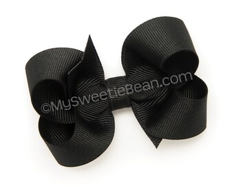 """Black Hair Bow, 3 inch Boutique Bow, Medium Bow, Basic Hair Bow, Ebony, Grosgrain Hairbow for Toddlers, 3"""" bow for Baby Girls, Black Bow"""