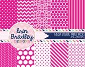 80% OFF SALE Hot Pink Digital Paper Pack Polka Dots Damask Chevron and Striped Background Patterns Digital Scrapbooking