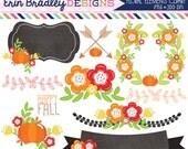 50% OFF SALE Floral Elements Fall Clipart Laurel Wreath Flowers Arrows Pumpkins Labels Commercial Use Clip Art Digital Graphics