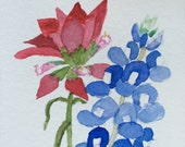 Small Indian Paintbrush with Bluebonnet a 4.25x6.25 inch original watercolor painting by Nan Henke