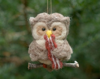 Needle Felted Owl Ornament - Hungry for Bacon