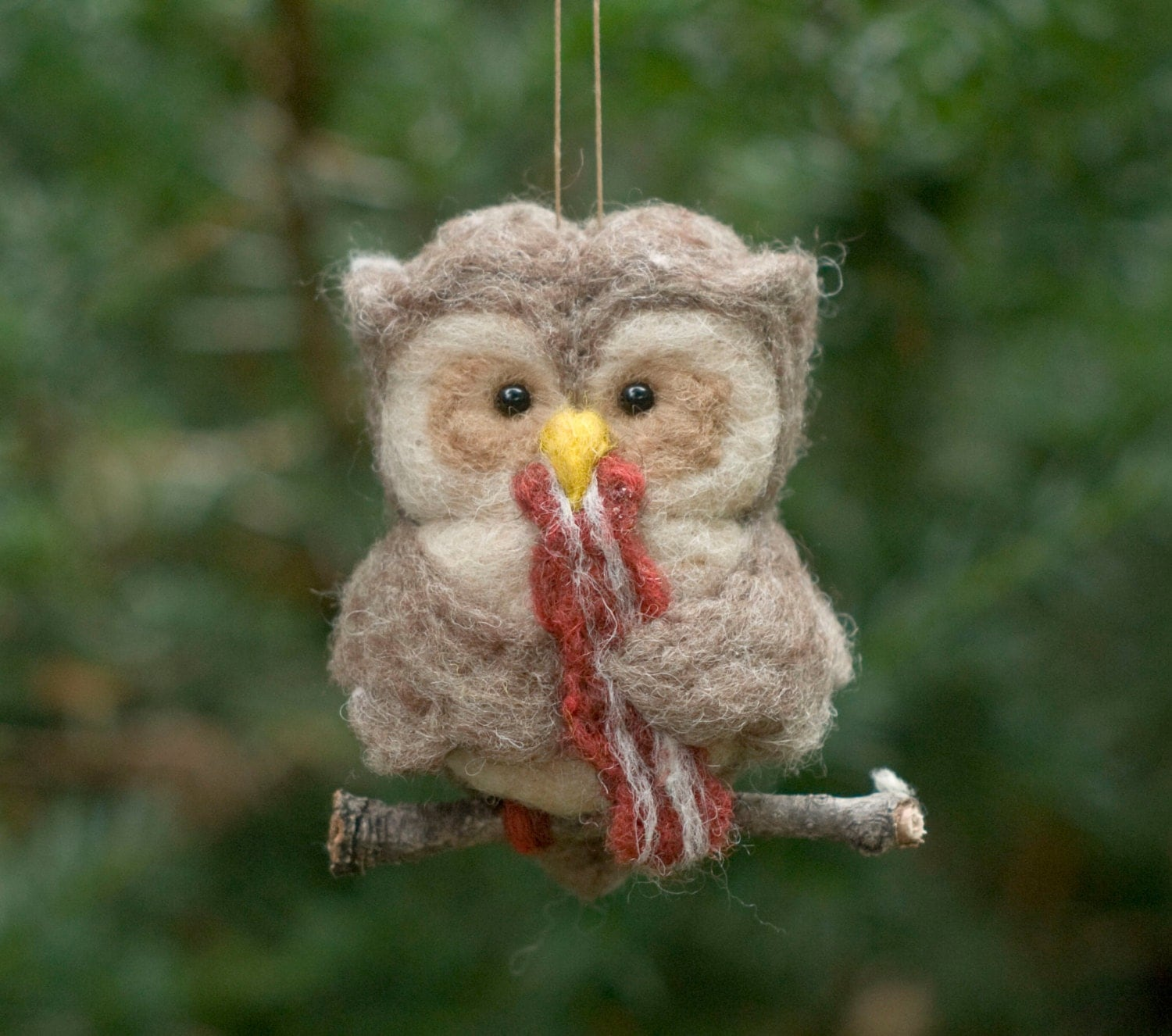 Pierogi christmas ornament - Needle Felted Owl Ornament Hungry For Bacon