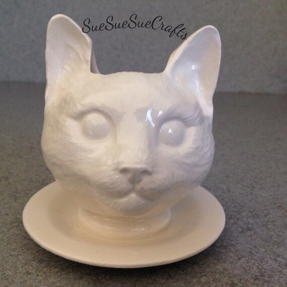 One Cat Doll  head Planter with Saucer Wee White and  Wonderful