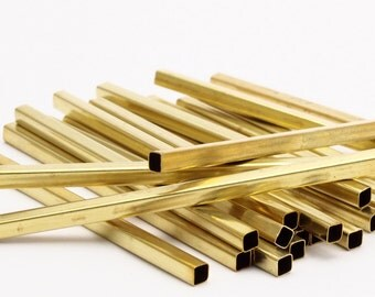 Brass Round Tube Beads,25 Raw Brass Square Tubes  (4x80mm) Bs 1596