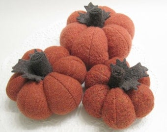 Three Knit Sweater Pumpkins Autumn Pumpkins Handmade from Felted Wool (no.713)