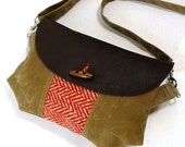 Red Herringbone Recycled Wool & Oiled Leather Waxed Canvas Purse READY TO SHIP