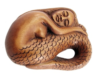 Resting Mermaid Japanese Hand-Carved Boxwood Netsuke Bead