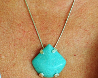 Amazonite 2-way pendant with Sterling frame