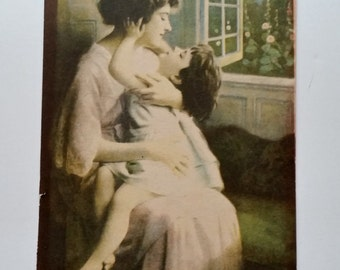 Antique Victorian Print of mother and Daughter