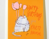Happy Birthday You Party Animal - Funny Birthday Card - Birthday Cat Card - Pink Balloons