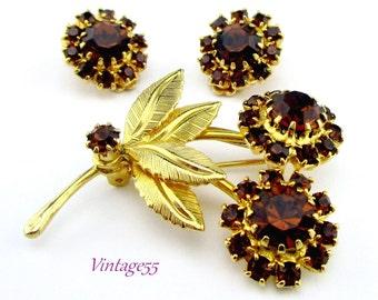 Brooch Fall Rhinestone Floral Dark Amber Earrings clip on