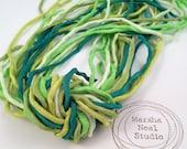 Hand Dyed Silk Ribbon - Silk Cord - DIY - Jewelry Supplies - Wrap Bracelet - Craft Supplies - 2mm Silk Cord Strands Bright Green Palette