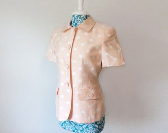 vintage Christian Dior jacket //  Pastel peach polka dot // Spring Summer blazer