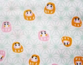Japanese Cotton Double Gauze - Daruma Men in Pink and Orange - Fat Quarter LIMITED YARDAGE
