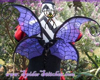 Durable Wearable Purple Witchy Spider Web Wings by Spider Stitches