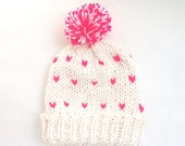 Knit Winter Slouchy Hat, Neon Pink Hat, Chunky Knit Hat