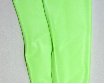 Lime Green Latex Stockings, footless, above the knee, size Small