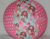 Balloon Ball Toy - Pink Brown Aqua Elephants and Pink Polka Dots - Great Baby Shower Gift or Decor