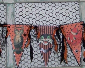 Halloween Banner Halloween Garland Halloween Decoration Vintage Retro Style