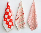 Tri Tri Again - hand printed, triangle pattern decorative kitchen towel, housewarming present