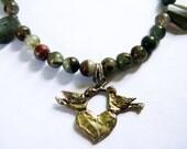 Lovebirds - Twinsoul - Soulmate - Necklace / Artisan Silver , African Bloodstone, Labradorite