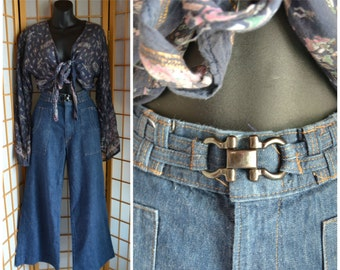 70s high waisted wide legged bell bottoms womens size small