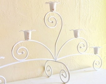 SALE Large Shabby Chic White with Gold Candelabra Centerpiece 5 Candles
