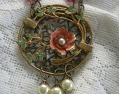 Repurposed Krementz Brooch Assemblage Necklace in Salmon And Green