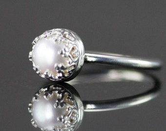 Pearl Sterling Silver Ring - June Birthstone Ring - 6.5-7mm White Pearl Stack Ring