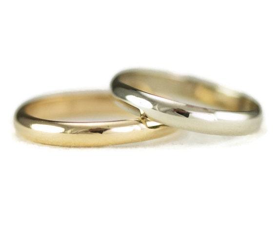 14k Gold Wedding Ring, 3mm Half Round Band, 14k Yellow, White or Rose Gold