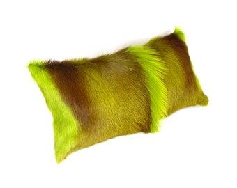 Springbok Pillow ~ Lime Plush Fur ~ Brown and Green Pillow ~ Green Leather Accent Pillow ~ Lime Fur Pillow ~ Genuine Springbok Pillow