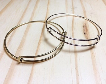 Set of 2  Expandable Bracelets Bangle Alex and Ani Style in Silver or Antique Bronze