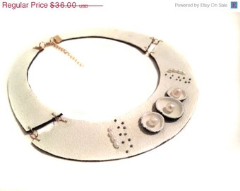 "50% OFF SALE White bib leather necklace with pearls Statement necklace Leather jewelry ""Geometry of Metamorphose"" collection"