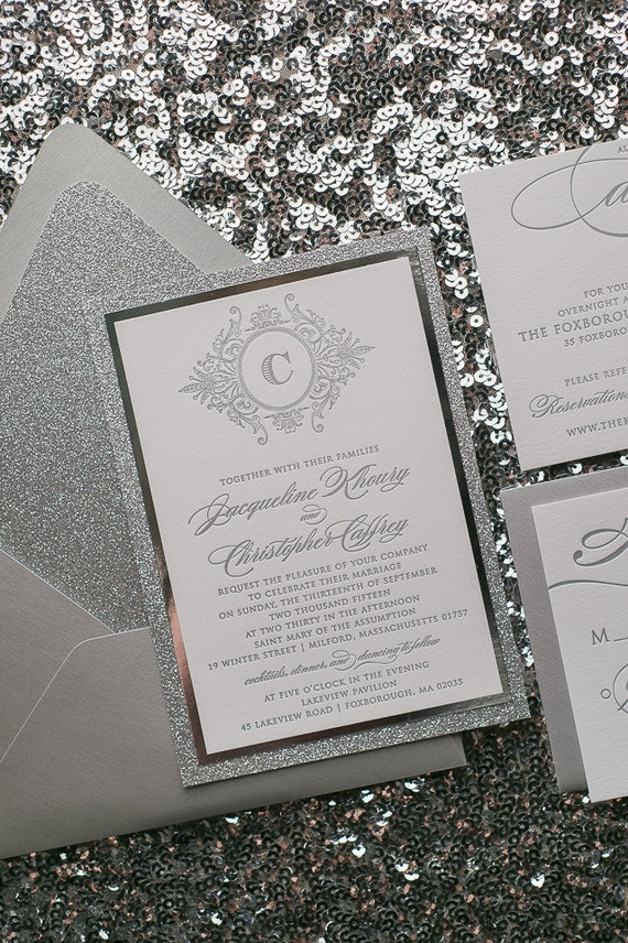All Silver Fancy Glitter Calligraphy Wedding By Justinviteme