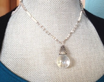 "vintage glass ball pendant pearl crystal sterling silver handmade chain- ""Fortune Teller"" Lorelei Novak Jewelry"