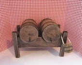Tudor Barrel stand, Barrel stand, Tudor, Country, Medieval barrels,  twelfth scale,  dollhouse miniature,