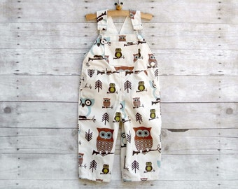 SUPER SALE - Overall in Beige Woodland Owls