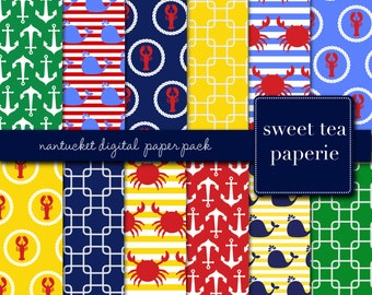Buy2Get1Free with Code XMASINJULY! Nantucket Digital Paper Pack (Instant Download)