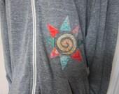 Light Weight Jacket, Hooded Full-zip Jacket, Hoodie, Alternative Apparel, Appliqued Hoodie, Multi-colored Sun Appliqued Jacket, Grey Jacket
