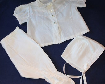 Vintage 3-Piece Infant Baby Outfit, White Cotton, with Pink and White Lace, 1940's Era