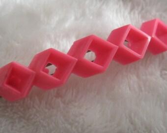 Vintage barrette, slender row of bright pink squares