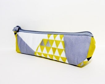 Small Cotton Pouch, Pouch, Small Cosmetic Bag, Coin Purse, Small Wallet, Zipper Pouch, Cotton Pouch, Echino Triangles in Gold, Grey, White