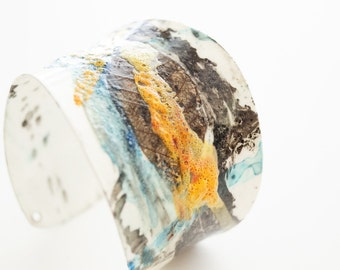 Bracelet Gold Time Women Fashion In Living Color In My Dreams Abstract miniature painting Cuff