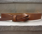 Dark Camel Muse Leather Buckle less Belt 1 1/2, 1 1/4 and 1 inch  Nickel-Free/ Vegetable tanned leather